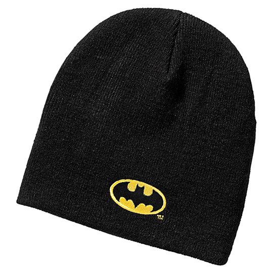 Шапка Batman epic knit hatАксессуары<br>Шапка Batman epic knit hat<br>Шапка из двухслойного трикотажа, полностью связанная узором «резинка».<br><br>Коллекция: Осень-зима 2016<br>Состав: 100% акрил<br>Ярлычок для имени с внутренней стороны<br>Объемный вышитый логотип BATMAN спереди, плоский вышитый логотип PUMA сзади<br>Страна-производитель: Китай<br><br><br>size RU: Детский<br>gender: Boys