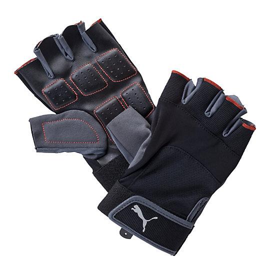 Спортивные перчатки Training Gloves UpСпортивные аксессуары<br>Спортивные перчатки Training Gloves UpПерчатки Training Gloves Up с обрезанными пальцами благодаря своей универсальности могут использоваться для занятий разными видами спорта. Их ладони выполнены из мягкого прочного материала, а большой палец - из специальной мягкой замши. Тыльная сторона из эластичного материала обеспечивает мягкий охват руки. На ней присутствует логотип PUMA Cat из серебристого светоотражающего материала. Такие перчатки во время тренировки обеспечат эффективную защиту вашим рукам.Коллекция: Осень-зима 2016 Размер: 16,7x10x8,3 см (М), 17,2x10,4x8,7 см (L)Материал: 38% нейлон, 35% полиэстер, 15% полиуретан, 8% этиленвиниловый ацетат, 4% спандексИспользованные материалы обеспечивают хорошее сцепление, прочность и комфортНаличие вырезов на тыльной стороне способствует вентиляцииПерчатки легко подгоняются по руке за счет застежки в виде клапана на «липучке»<br><br>color: черный<br>size RU: M<br>gender: Unisex