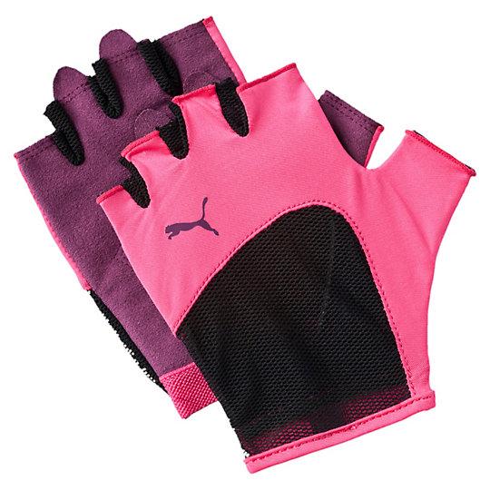 Перчатки Gym GlovesСпортивные аксессуары<br>Перчатки Gym GlovesУдобные и прочные перчатки из мягкой замши с набивкой на ладони и большом пальце. Благодаря эластичной манжете перчатки удобно снимать и надевать.Коллекция: Осень-зима 2016Материал: 75% полиэстер, 13% нейлон, 5% спандекс, 7% полиуретанВид спорта: ТренингЦвета: черный, розовыйЭластичная сетчатая ткань на ладони обеспечивает хорошую посадку и вентиляциюСиликоновый точечный принт улучшает сцеплениеЦветной логотип PUMA на тыльной стороне ладониСтрана-производитель: Китай<br><br>size RU: S<br>gender: Female