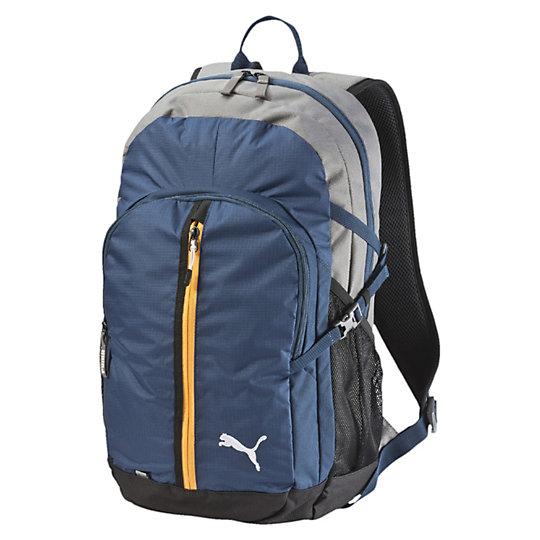 Рюкзак PUMA Apex BackpackРюкзаки<br>Рюкзак PUMA Apex BackpackРюкзак PUMA Apex Backpack - удобный и очень вместительный спортивный рюкзак, который пригодится не только в спортивном зале, но также и в повседневной жизни, на прогулке и даже в путешествии. Рюкзак с большим основным отделением оснащен несколькими отделениями для мелочей, в том числе и сетчатым карманом для бутылки с водой. На передней части рюкзака вышит фирменный бренд Puma. Коллекция: Весна-лето 2016  Двусторонняя застежка на молнии на основном отделении Передний карман на молнии Регулируемые лямки с сетчатой изнанкой и светоотражающими лого Puma Мягкая спинка с сетчатыми вставками Тканевая ручка для удобной переноски Металлические брендированные язычки на застежках-молниях Вышитый логотип Puma на фронтальной части Материал: полиэстер с изнанкой из полиуретана<br><br>color: синий<br>size RU: OSFA<br>gender: Unisex