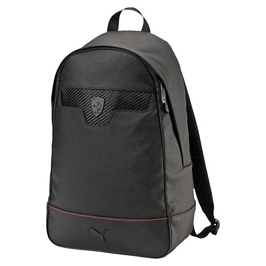 Рюкзак Ferrari LS BackpackРюкзаки<br>Рюкзак Ferrari LS Backpack<br>Дополните этим рюкзаком любой повседневный костюм и станьте стильным раньше, чем успеете сказать «Скудерия Феррари». Классический силуэт и достаточный объем для переноски любых вещей. Рюкзак для истинных фанатов автоспорта.<br><br>Коллекция: Осень-зима 2016<br>Материал: 68% полиуретан, 32% полиэстер с полиуретановой подкладкой Цвет: черный<br>Основное отделение с двухходовой молнией<br>Внутреннее отделение с набивкой для ноутбука<br>Внутренний карман на молнии и накладной карман<br>Мягкая набивная спинка<br>Регулируемые плечевые лямки с набивкой<br>Сверху тканая лямка для переноски<br>Декоративные швы контрастного цвета, сетчатые вставки спереди<br>Логотип Ferrari в виде щита, логотип PUMA в виде силуэта пумы спереди<br>Страна-производитель: Гонконг<br><br><br>size RU: OSFA<br>gender: Unisex