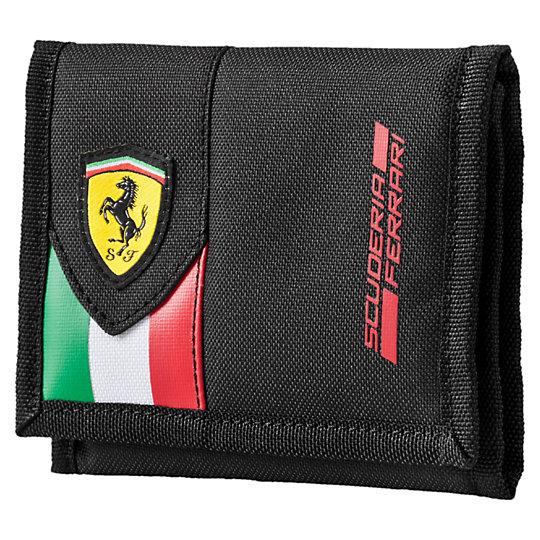 Кошелек Ferrari Fanwear WalletКошельки<br>Кошелек Ferrari Fanwear Wallet<br>Застежка-липучка, внутреннее отделение на молнии для монет, несколько внутренних отделений для банкнот и кредитных карт, подкладка из полиэстера с полиуретановой изнанкой, металлический язычок с логотипом PUMA No.1 на молнии в отделении для монет, тканый логотип Ferrari Racing в виде щита спереди, контрастный принт с логотипом Scuderia Ferrari спереди, принт с силуэтом пумы сзади.<br><br>Коллекция: Осень-зима 2016<br>Материал: 100% полиэстер с полиуретановой изнанкой<br>Размеры: 30 x 13,5 см<br>Страна-производитель: Гонконг<br><br><br>size RU: OSFA<br>gender: Unisex
