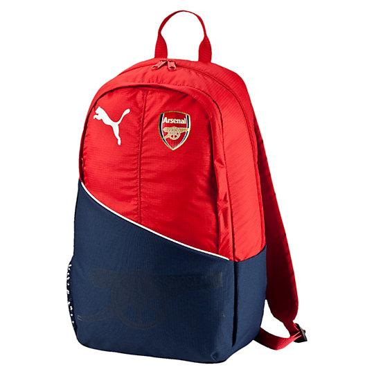 Рюкзак Arsenal Fanwear BackpackРюкзаки<br>Рюкзак Arsenal Fanwear Backpack<br>Компактный рюкзак PUMA для фанатов футбольного клуба «Арсенал» однозначно покажет, за кого вы болеете.<br><br>Коллекция: Осень-зима 2016<br>Материал: 100% полиэстер<br>Размеры: Длина 30,5 см, ширина 17 см, высота 47 см<br>Вид спорта: Футбол<br>Основное отделение на двухсторонней молнии<br>Внутренний подвесной карман для ноутбука<br>Передний карман на молнии<br>Регулируемые плечевые лямки с набивкой<br>Удобная набивная спинка<br>Страна-производитель: Южная Корея<br><br><br>size RU: UA<br>gender: Unisex