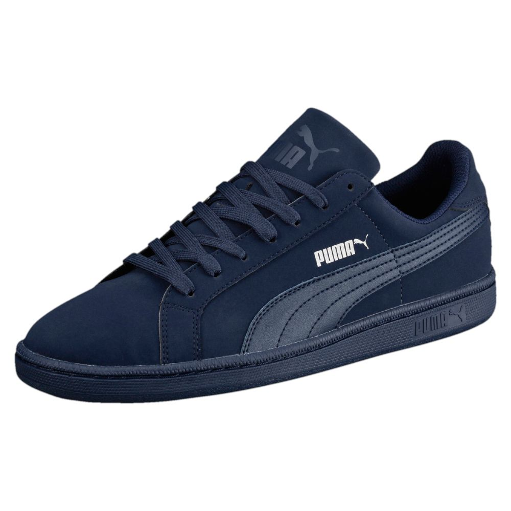 Puma Men S Smash Suede Leather Fashion Sneaker Black White