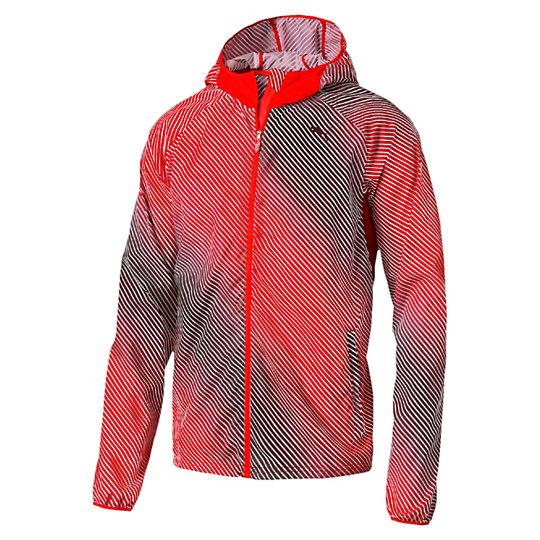 Куртка Packable Woven JacketОлимпийки<br>Куртка Packable Woven JacketЕсли погода капризничает, захватите на пробежку эту легкую трикотажную куртку. Она имеет много преимуществ: материал windCELL для защиты от порывов ветра, удобные карманы и отверстия для больших пальцев на рукавах. Если на улице потеплеет, куртку можно компактно сложить и упаковать в ее собственный задний карман. Чуть позже мы подробнее расскажем об этом.Коллекция: Осень-зима 2016Состав: 100% полиэстерТехнологии: windCELL надежно защитит от холодного ветра и сохранит оптимальную температуру тела во время тренировкиВид спорта: БегЦвета: красный, синийКомпактную куртку можно сложить и упаковать в ее собственный задний карман, чтобы затем нести в рукеКапюшонЗастежка-молния во всю длину изделияДва кармана на поясе и один сзади. Застежка-молния на всех карманахСветоотражающие элементы улучшают видимость при плохом освещенииГрафический принт по всей поверхности изделияСветоотражающий логотип PUMA слева на грудиСтрана-производитель: Вьетнам<br><br>size RU: 48-50<br>gender: Male