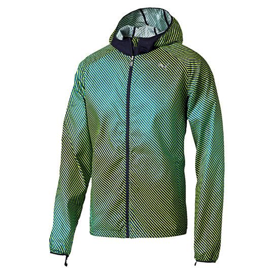 Куртка Packable Woven JacketОлимпийки<br>Куртка Packable Woven Jacket<br>Если погода капризничает, захватите на пробежку эту легкую трикотажную куртку. Она имеет много преимуществ: материал windCELL для защиты от порывов ветра, удобные карманы и отверстия для больших пальцев на рукавах. Если на улице потеплеет, куртку можно компактно сложить и упаковать в ее собственный задний карман. Чуть позже мы подробнее расскажем об этом.<br><br>Коллекция: Осень-зима 2016<br>Состав: 100% полиэстер<br>Технологии: windCELL надежно защитит от холодного ветра и сохранит оптимальную температуру тела во время тренировки<br>Вид спорта: Бег<br>Компактную куртку можно сложить и упаковать в ее собственный задний карман, чтобы затем нести в руке<br>Капюшон<br>Застежка-молния во всю длину изделия<br>Два кармана на поясе и один сзади. Застежка-молния на всех карманах<br>Светоотражающие элементы улучшают видимость при плохом освещении<br>Графический принт по всей поверхности изделия<br>Светоотражающий логотип PUMA слева на груди<br>Страна-производитель: Гонконг<br><br><br>size RU: 50-52<br>gender: Male