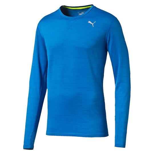 Футболка Rebel-Run L/S TeeФутболки и майки<br>Футболка Rebel-Run L/S Tee<br>Эта футболка воплощает простоту в ее лучшем проявлении: удобная посадка, технология защиты от влаги и пота, светоотражающий элемент, благодаря которому спортсмена хорошо видно на трассе и он может сосредоточиться на следующей миле. И на следующей. И на той, что после нее.<br><br>Коллекция: Осень-зима 2016<br>Состав: полиэстер 96%, эластан 4%, джерси<br>Технологии: dryCELL  выводит влагу наружу, обеспечивая сухость и комфорт<br>Вид спорта: БегЦвет: синий<br>Круглый вырез<br>Рукав реглан, плоские швы предотвращают натирание<br>Светоотражающие элементы улучшают видимость при плохом освещении<br>Петелька для наушников<br>Слева на груди светоотражающий логотип PUMA<br>Страна-производитель: Гонконг<br><br><br>size RU: 44-46<br>gender: Male