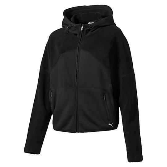 Куртка Yogini WARM JacketОлимпийки<br>Куртка Yogini WARM JacketМы не случайно назвали эту куртку Yogini. Благодаря свободной посадке, удерживающему тепло материалу warmCELL и застежке-молнии она обеспечивает непревзойденный комфорт во время упражнений на дыхание, растяжку и при ходьбе. Вам нужно только набросить куртку и расстелить коврик.Коллекция: Осень-зима 2016Состав: полиэстер 95%, эластан 5%Технологии: Высокотехнологичный дышащий материал warmCELL сохраняет тепло тела и поддерживает оптимальную температуру в прохладную погодуВид спорта: ТренингЦвет: черныйСвободная посадкаКапюшон с регулируемым затягивающимся шнуркомЗастежка-молния на всю длинуДвойные карманы на талии, застегивающиеся на молниюЛоготип PUMA на нижней кромке слеваСтрана-производитель: Китай<br><br>size RU: 44-46<br>gender: Female