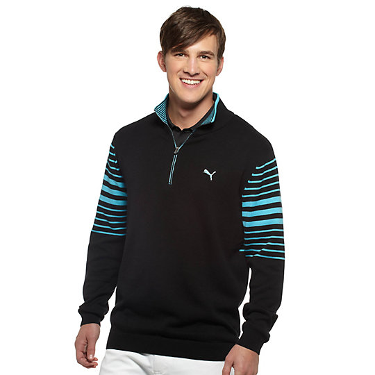 1/4 Zip Striped Golf Sweater