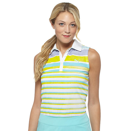 Watercolor Striped Sleeveless Golf Polo Shirt