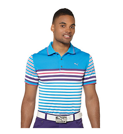 Tech Striped Golf Polo Shirt