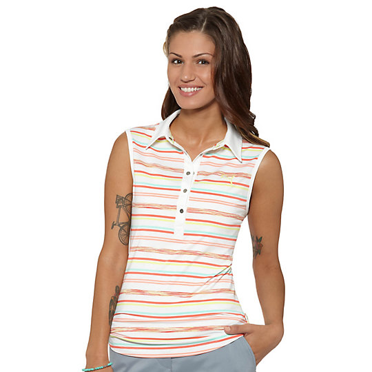 Space Stripe Sleeveless Golf Polo Shirt