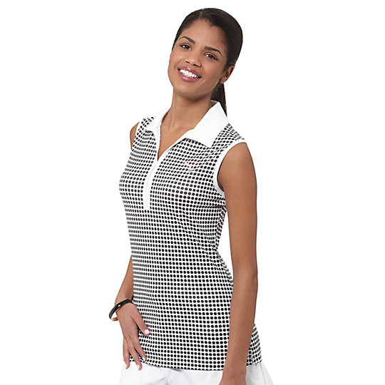 Dot Pattern Sleeveless Golf Polo Shirt