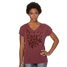 Cat Graphic V-Neck T-Shirt
