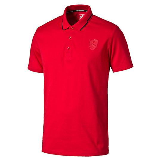 Поло Ferrari PoloПоло<br>Поло Ferrari Polo<br>Продемонстрируйте свою приверженность автоспорту, надев эту футболку-поло PUMA с мультибрендовой символикой, воплотившей стиль жизни Ferrari.<br><br>Коллекция: Осень-зима 2016<br>Состав: 63% хлопок, 37% полиэстер; финальная влагоотводящая обработка на основе биотехнологий<br>Силиконовой логотип Ferrari<br>Воротник  с контрастной окантовкой, планка для трех пуговиц<br>Итальянский флаг на стойке воротника<br>Страна-производитель: Китай<br><br><br>size RU: 46-48<br>gender: Male