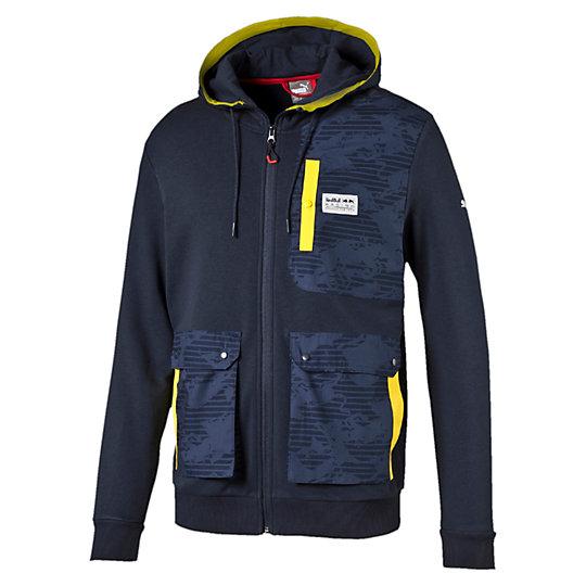 Толстовка RBR Hooded Sweat JacketТолстовки и худи<br>Толстовка RBR Hooded Sweat Jacket<br>Бирка RBR из ткани; плотный принт логотипа PUMA; контрастная отделка; повторяющийся принт в виде полос на карманах, нанесенных краской на водной основе; петля-вешалка.<br><br>Коллекция: Осень-зима 2016<br>Состав: 70% хлопок, 30% полиэстер<br>Страна-производитель: Китай<br><br><br>size RU: 48-50<br>gender: Male