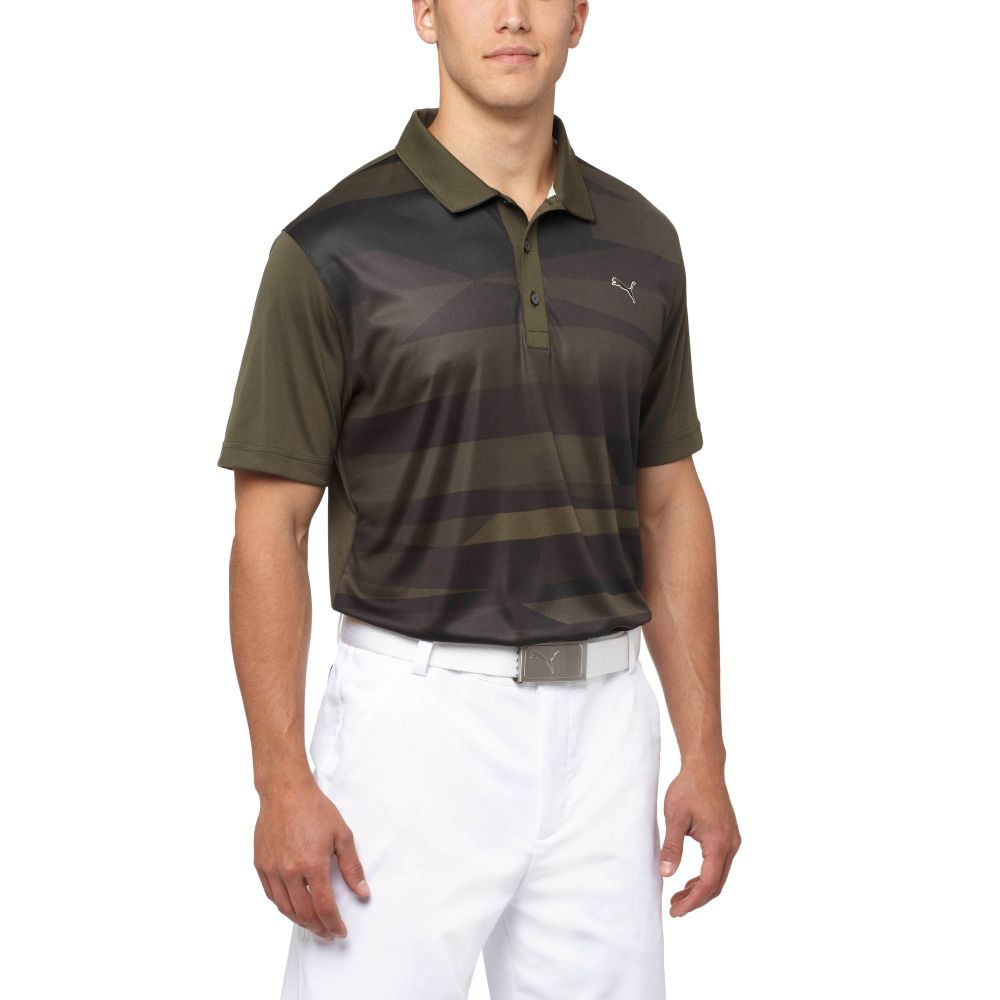 Puma ice stripe golf polo shirt ebay for Mens puma golf shirts
