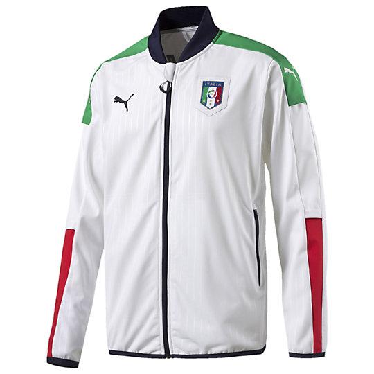 Олимпийка FIGC Italia Stadium JacketОлимпийки<br>Олимпийка FIGC Italia Stadium Jacket <br>В этой спортивной куртке Italia Stadium вы можете прославлять одну их самых известных национальных команд не только в Европейском, но и мировом футболе, а именно Squadra Azzurra. Куртка создана в официальных цветах команды и предоставляет оптимальный комфорт. Отличная функциональная одежда для отдыха и спортивного образа жизни.<br>Коллекция: весна-лето 2016<br>Официальный символ Федерации Футбола Италии<br>Рукава в цвете итальянского флага<br>Материал в тонкую полоску<br>Молния во всю длину с защитой подбородка<br>Боковые карманы на молнии<br>Эластичная резинка на поясе и манжетах<br><br>color: белый<br>size RU: 48-50<br>gender: Male