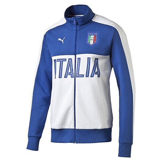 Олимпийка FIGC Italia Fanwear Track JacketОлимпийки<br>Олимпийка FIGC Italia Fanwear Track Jacket <br> Эта линия одежды – олицетворение страсти поклонников, влюбленных в успех и традиции итальянского футбола. Олимпийка из хлопка и полиэстера с контрастной отделкой и принтом позволит чувствовать себя комфортно на тренировке и всегда быть готовым к победам. <br> <br>Коллекция: Весна-лето 2016 года.<br>Официальная графическая эмблема FIGC.<br>Принт в тонкую полоску спереди.<br>Застежка на молнии.<br>Итальянский крой. <br>Материал: 70% хлопок 30% полиэстер.<br><br><br>size RU: 44-46<br>gender: Male