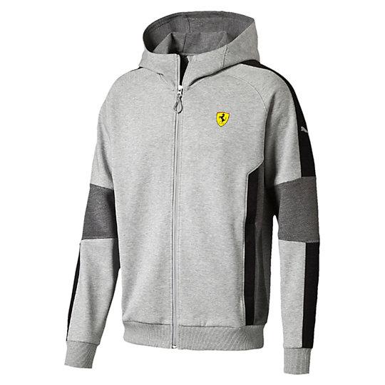 Толстовка SF Hooded Sweat JacketТолстовки и худи<br>Толстовка SF Hooded Sweat Jacket<br>Толстовка SF Hooded Sweat Jacket как бы говорит: «Со мной ты каждый день будешь на пределе скорости». Эта толстовка из коллекции PUMA Ferrari имеет классический дизайн и множество логотипов Ferrari.<br><br>Коллекция: Осень-зима 2016<br>Состав: 77% хлопок, 23% полиэстер<br>Капюшон<br>Застежка на молнии со специальным клапаном для защиты подбородка<br>Два боковых кармана<br>Контрастные боковые вставки<br>Логотип Ferrari на левой груди<br>Логотип PUMA на левом рукаве<br>Страна-производитель: Китай<br><br><br>size RU: 44-46<br>gender: Male