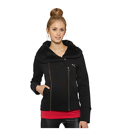 Sherpa Collar Moto Zip-Up Sweatshirt
