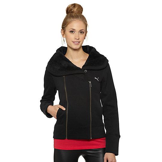 Sherpa Collar Moto Zip-Up Sweatshirt