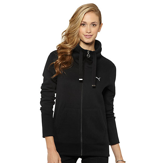 Extended Neck Zip-Up Sweatshirt