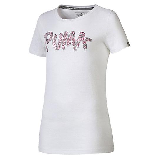 Футболка FUN TD Logo Tee GОдежда<br>Футболка FUN TD Logo Tee GФутболка FUN TD Logo Tee G от Puma - простая, но стильная футболка для детей и подростков. Изготовленная в белом цвете, она украшена стильным металлизированным принтом с логотипом Puma в нежно-розовом оттенке, который приведет юных модниц в восторг. Футболка создана из полностью натуральных материалов, которые обеспечат максимальное поддержание нужной температуры во время тренировок или подвижных игр детей и создаст особый комфорт в процессе носки. Коллекция: Весна-лето 2016 года  Графический металлизированный принт с логотипом Puma. Сетчатые вставки для вентиляции.Материал: 100% хлопок.<br><br>size RU: 164<br>gender: Women