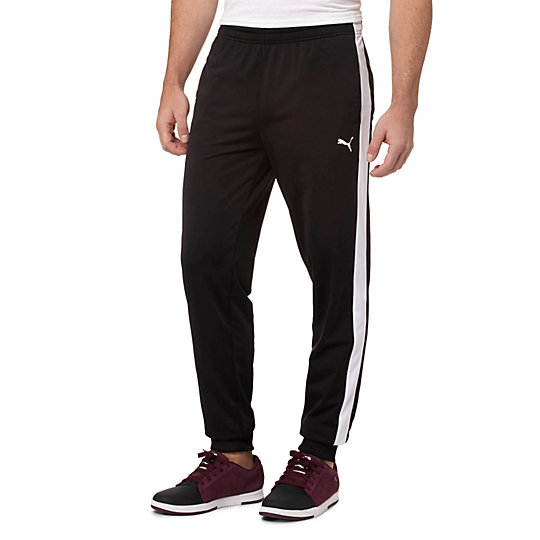 PUMA Mens Contrast Cuffed Pants in Black/White or Ebony/Black